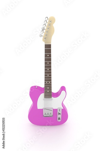 """Isolated purple electric guitar on white background ..."