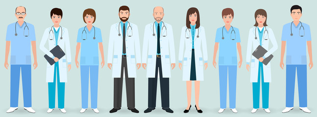 Hospital staff. Group of nine men and women doctors and nurses. Medical people.