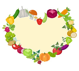 Vegetables frame in the shape of a heart. Flat style. Isolated on white background. Healthy lifestyle, vegan, vegetarian diet, raw food. Vector illustration
