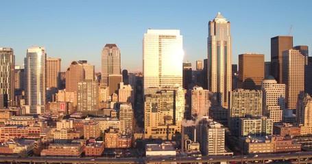 Fotomurales - Seattle Skyline at Sunset Aerial