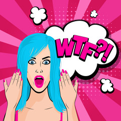 Angry young blue hair girl pop art