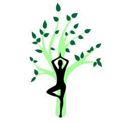 Yoga asana pose black girl silhouette green tree illustration sy
