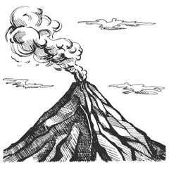 Vector sketch of the volcano