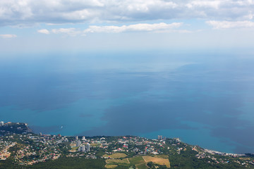 Aerial view of the coastline from Mount Ai-Petri mountain in Crimea