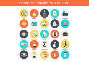25 Circular Business and Finance Icons 1