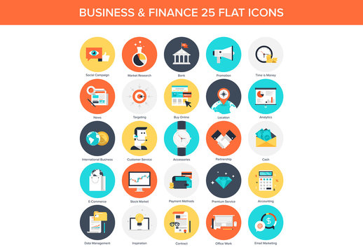 25 Circular Business and Finance Icons 2