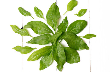 spinach leaves on a white wooden background view from above