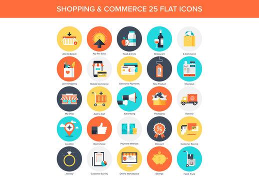 25 Flat Circular E-Commerce Icons
