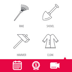 Achievement and video cam signs. Shovel, hammer and cloak icons. Rake linear sign. Calendar icon. Vector