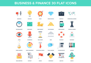 30 Colorful Business and Finance Icons