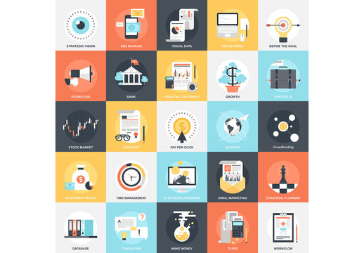 25 Flat Square Business and Planning Icons