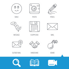 Photo camera, pencil and handshake icons. Inbox e-mail, message speech bubble and smile linear signs. Video cam, book and magnifier search icons. Vector