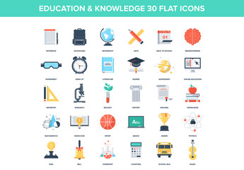 30 Colorful Science and Education Icons