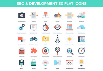 30 Colorful SEO and Development Icons