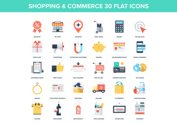 30 Colorful Shopping and Commerce Icons