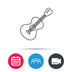Guitar icon. Musical instrument sign. Band guitarist symbol. Group of people, video cam and calendar icons. Vector