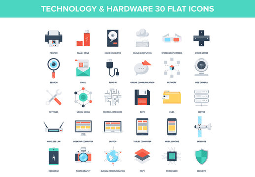 30 Colorful Tech and Communications Icons