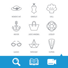 Paper boat, shell and swimsuit icons. Lifebuoy, glases and women hat linear signs. Anchor, ladies handbag icons. Video cam, book and magnifier search icons. Vector