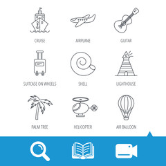 Cruise, airplane and helicopter icons. Palm tree, shell and lighthouse linear signs. Air balloon, guitar and luggage icons. Video cam, book and magnifier search icons. Vector