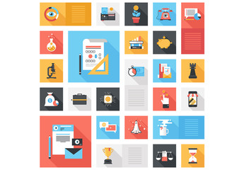 Flat Communications, Science, and Web Grid Illustration