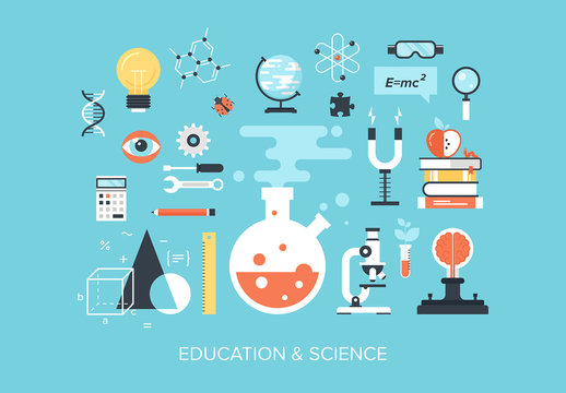 Flat Education and Science Illustration