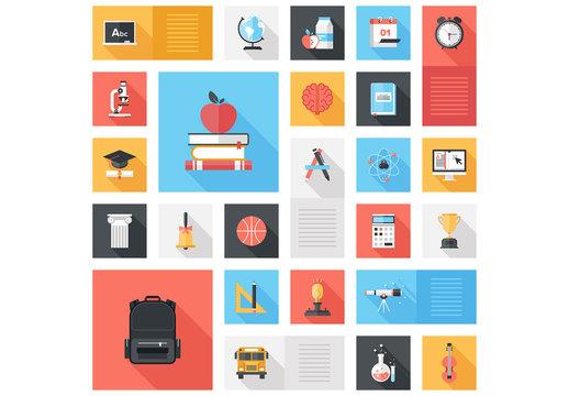 Flat School and Education Grid Illustration