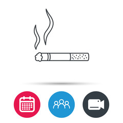 Smoking allowed icon. Yes smoke sign. Group of people, video cam and calendar icons. Vector