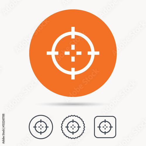 Target Icon Crosshair Aim Symbol Orange Circle Button With Web