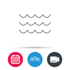 Waves icon. Sea flowing sign. Water symbol. Group of people, video cam and calendar icons. Vector