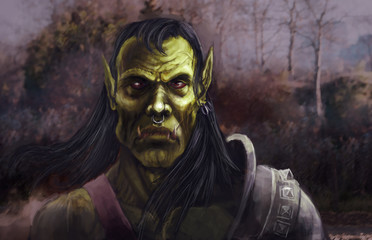 Orc portrait fantasy illustration art