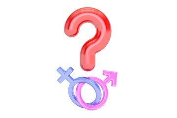 Question mark with gender female and male symbols , 3D rendering