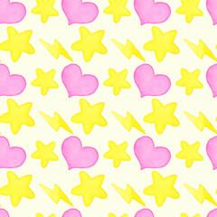 Heart, lightning, star watercolor seamless pattern