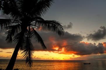 Colorful sunrise  on the beach in Lavena village in Taveuni Isla