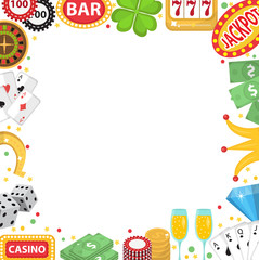 Casino frame with space for text. Gambling isolated on a white background. Poker, card games, one-armed bandit, roulette. Vector illustration, clip art
