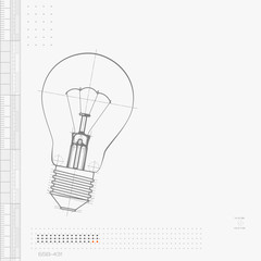 Illustration Of Lightbulb Isolated On Gray Background.