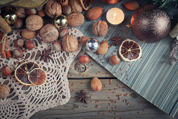 Variety of nuts in Christmas and New Year decoration