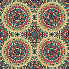 Poster Boho Stijl Ornate floral seamless texture, endless pattern with vintage mandala elements.
