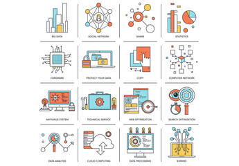 16 Outlined Data and Social Media Icons