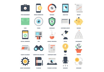 25 Flat Business and Planning Icons