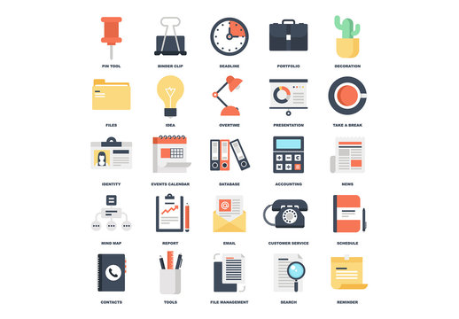 25 Flat Business and Office Icons