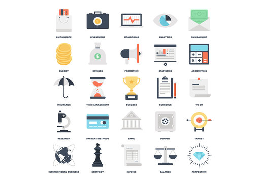25 Flat Business Icons
