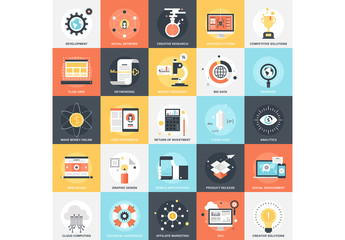 25 Flat Square Analytics and Research Icons
