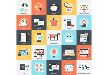 25 Flat Square Business and Productivity Icons 1