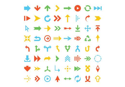64 Flat Arrow Icons