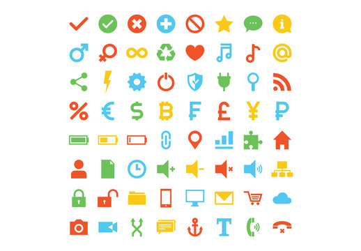64 Flat Assorted Web Icons