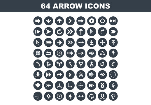64 Flat Circular Arrow Icons