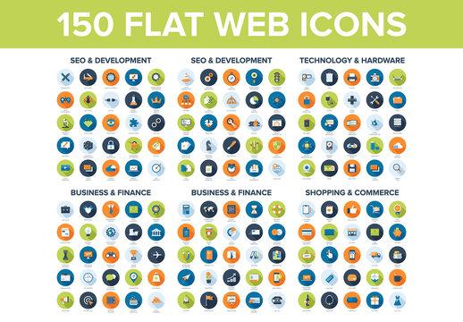 150 Assorted Circular Web Icons