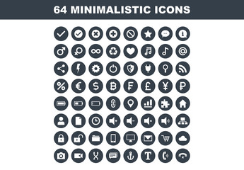 64 Flat Circular Minimalist Icons