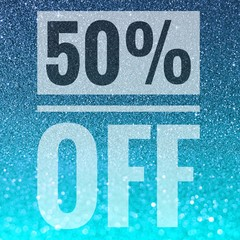 Sale fifty percent off sign on blue glitter background
