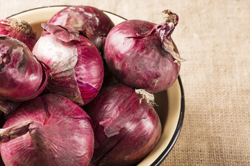 Bunch of red onions in a bowl close up on canvas
